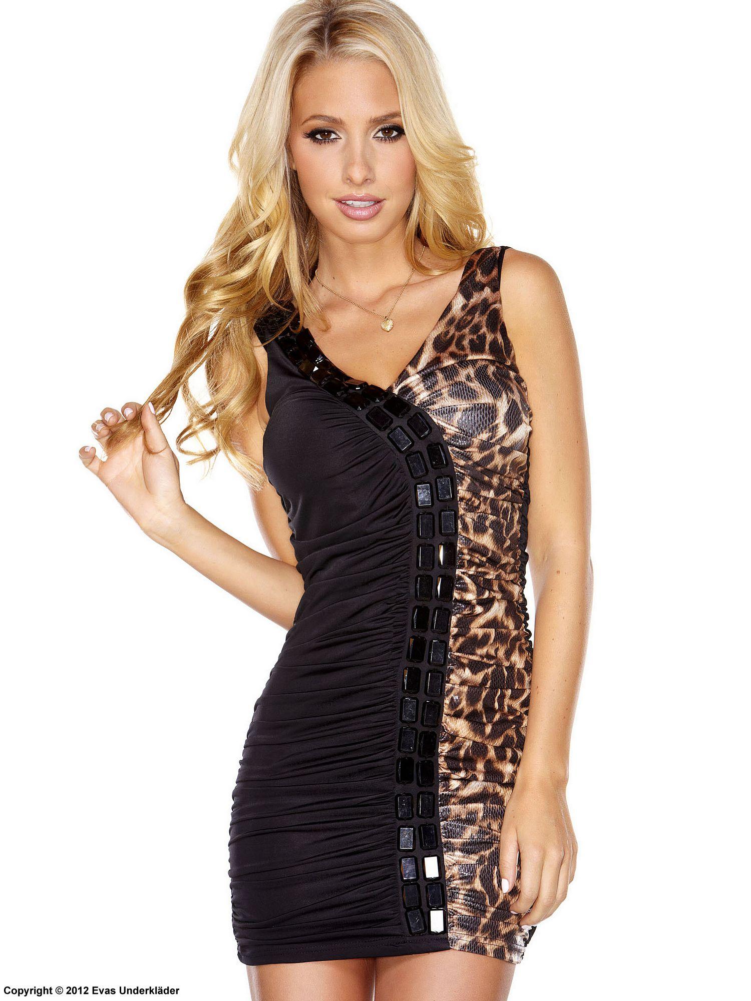 Rynkad klänning med blanka stenar, leopard